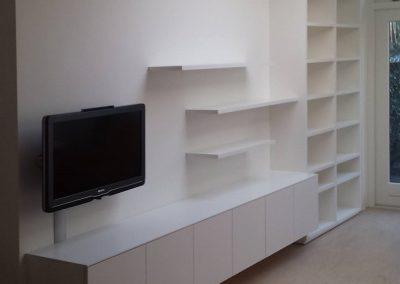 hangend tv meubel met zwevende schappen