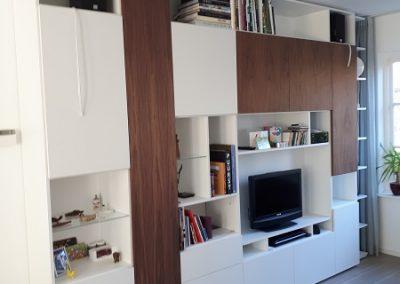 tv wandmeubel op maat wit met notenhout