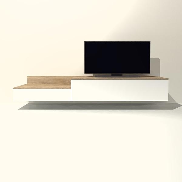 Tv Meubel Zwevend Hout.Tv Meubel Hangend H08 Met Klep En Lade Tv Meubel Op Maat Shop