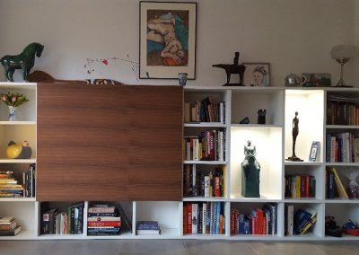 tv meubel met schuifdeuren noten