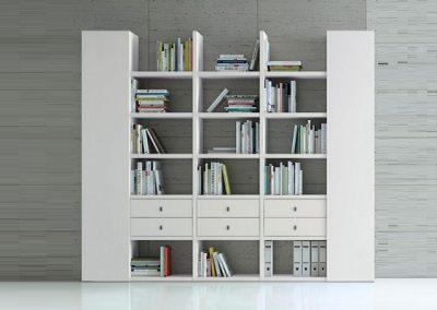 Boekenkast met deuren en laden